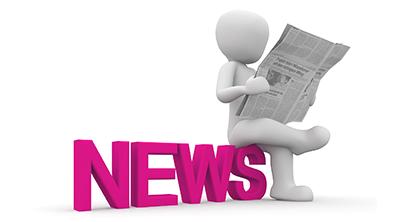Un personnage 3D lit le journal et il y a écrit news